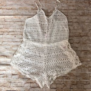 Victoria Secret crochet white romper swim coverup